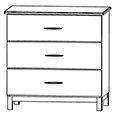 CFC Healthcare 405-0230 Three Drawer Dresser
